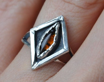 Handmade Sterling Silver and Marquise Shaped Amber Ring - UK Size L (US Size 5.5)