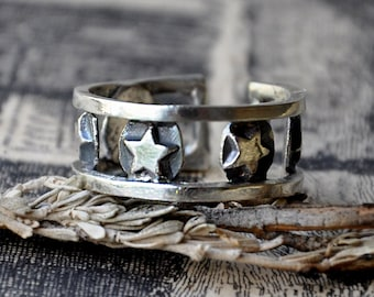 Handmade Sterling Silver Star Stud Ring - UK Size Q (US Size 8)