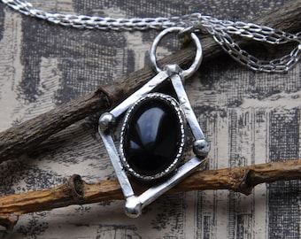 """Large Black Onyx and Silver Handmade Pendant on an 16"""" Silver Chain"""