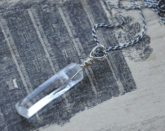 Sterling Silver and Clear Quartz Crystal Handmade Necklace (Necklace 3)