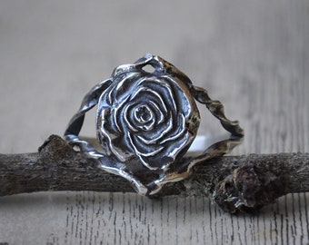 Handmade Split Twisted Band Sterling Silver Rose Ring - UK Size M (US Size 6)
