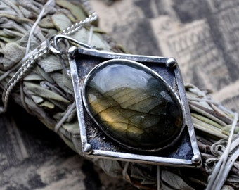 """Handmade Oval Labradorite and Sterling Silver Pendant on a 20"""" Chain"""