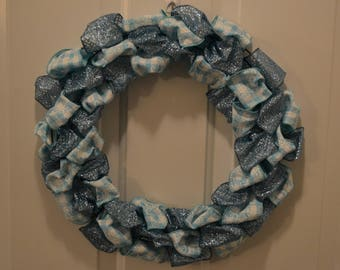 White and Blue Christmas Holiday Winter Wreath 14""