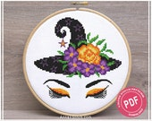 Witch face - Halloween cross stitch pattern pdf by AnnaXStitch - Modern needlepoint - Funny hand embroidery design - Instant Download 0130