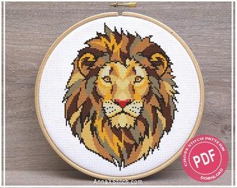 Crossstitch Cross Pattern Needlepoint Kits Cross Stitch World Lion Cross Stitch Kits Lion Cross stitch lion pattern