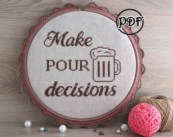 Drink cross stitch Beer gifts Beer lover gift Quote cross stitch pattern Funny cross stitch Funny subversive cross stitch pattern