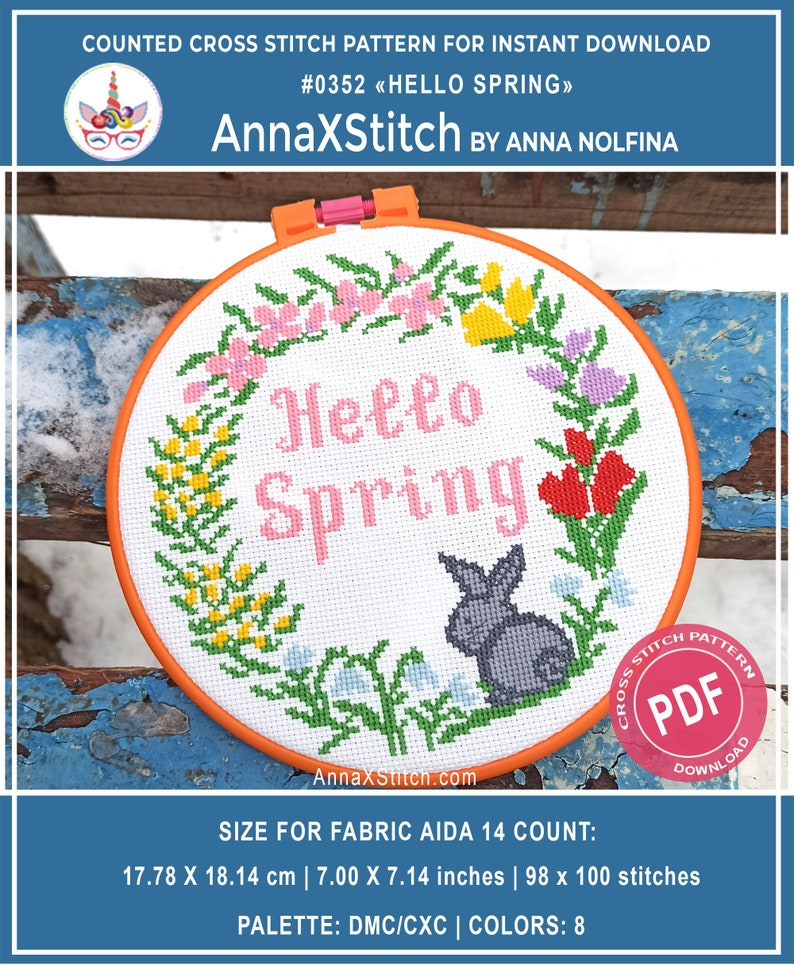 Hello spring cross stitch pattern pdf by AnnaXStitch  Happy image 0
