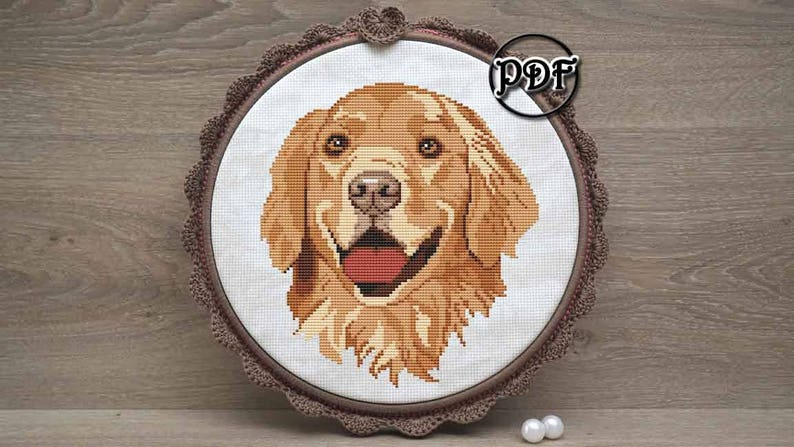 Golden retriever - Dog face cross stitch pattern pdf by AnnaXStitch - Hand  embroidery design - Dog lover gift - Instant download