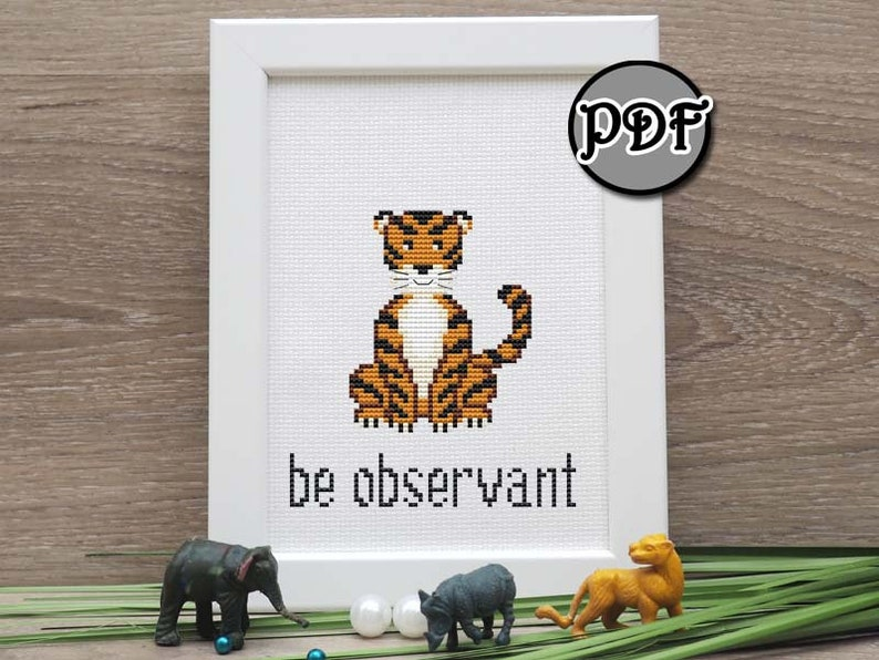 Jungle animals cross stitch pattern baby pdf set of 8 Instant download Needlepoint chart Modern embroidery design