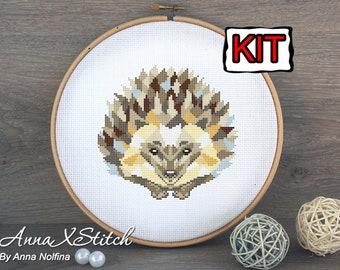 Hedgehog cross stitch kit modern by AnnaXStitch - Modern embroidery kit - Modern needlepoint kit -  DIY - Geometric woodland animals
