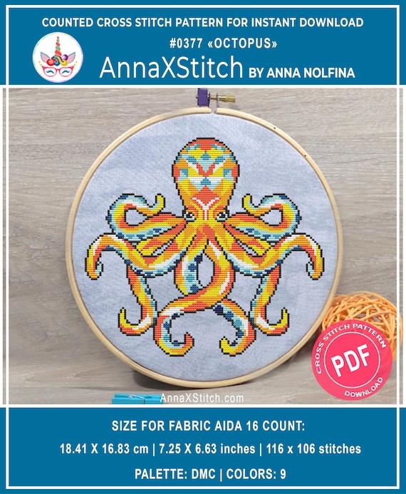 Octopus Cross Stitch  Cross stitch pattern  Pattern PDF  Embroidery fish  Modern cross stitch  Cross Stitch Animal  Sea