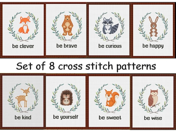 Cross stitch pattern baby nursery animals /Set of 8/ by AnnaXStitch - Modern embroidery - Forest friend - Digital files - Instant Download