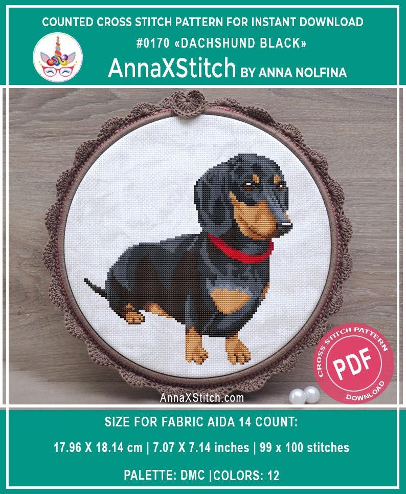 Dachshund cross stitch pattern pdf by AnnaXStitch  Doxie hand image 0