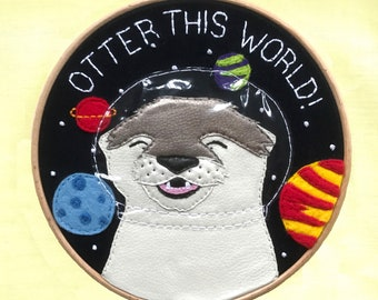 Embroidery Art, Otter Embroidery, Otter Art, Space Embroidery, Space Art, Space Puns, Cute Embroidery, Embroidery Hoop, Textile Art, 7 Inch