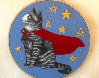 Embroidery Art, Cat Embroidery, Cat Art, Superhero Embroidery, Superhero Art, Cute Embroidery, Embroidery Hoop, Textile Art, 7 Inch