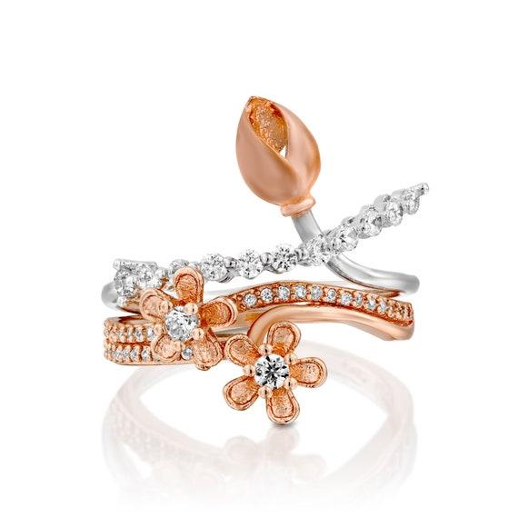 Diamond Engagement Ring Set Unique Wedding Rings Set Diamond Etsy