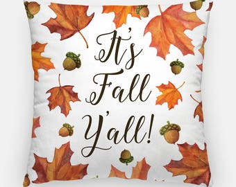 "Fall Throw Pillow Cover ""It's Fall Y'all!"" Pillow Case, Autumn Pillow Case, Autumn Home Decor Cottage Decor, Fall Leaves Watercolor Pillow"