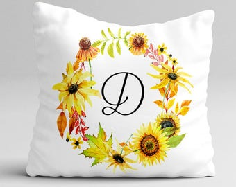 Fall Throw Pillow Cover Monogram Pillow - Sunflower Wreath Rustic Watercolor Pillow Case - Fall Home Decor Cottage Decor Watercolor Pillow