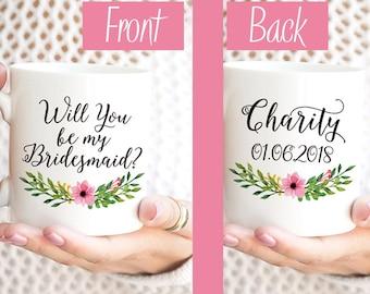 """Will You be my Bridesmaid Mug Bridesmaid Gift Bridesmaid Proposal Request Bridesmaid Mug Watercolor Floral Mug """"Pink Blossom"""" Wedding Mug"""