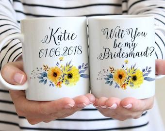 """Will You be my Bridesmaid - Bridesmaid Gift - Bridesmaid Proposal Bridesmaid Mug Watercolor Floral Mug """"Country Bouquet"""" Watercolor Mug Gift"""