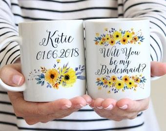 """Will You be my Bridesmaid - Bridesmaid Gift - Bridesmaid Proposal Bridesmaid Mug Watercolor Floral Mug """"Country Bouquet Garland"""" Wedding Mug"""