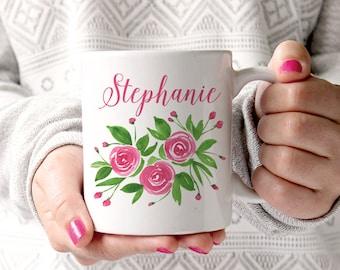 Watercolor Floral Mug - Watercolor Rose Mug - Custom Bridesmaid Gift Mug - Custom Coffee Mug - Watercolor Mug Cute Gift for Her Personalized