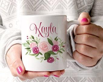 Custom Coffee Mug Watercolor Floral Mug - Watercolor Rose Mug - Custom Bridesmaid Gift Mug - Blush Wine Watercolor Mug Wedding Gift for Her