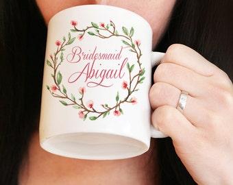 Bridesmaid Mug - Custom Coffee Mug - Maid of Honor Mug - Bridesmaid Proposal Watercolor Floral Mug - Bridesmaid Gift Mug - Wedding Mug Gift