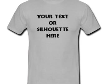 Custom Personalized T-shirt Your Text or Silhouette Printed Tee (Adult)