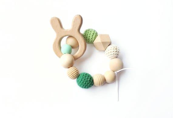 anneau hochet de dentition perle bois naturelles silicone etsy. Black Bedroom Furniture Sets. Home Design Ideas