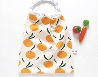 Children's elasticated children's towel in organic cotton - oranges - kindergarten
