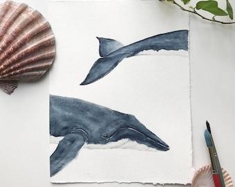 Humpback Whale Painting, Watercolor, Nature Art, Ocean, Art Prints, Ocean Animals