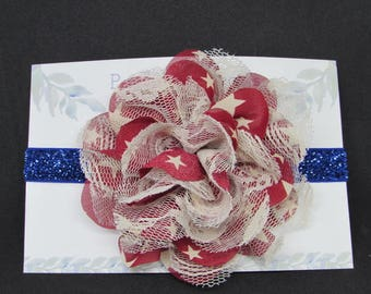 Flower Baby Headband, Baby girl headband, 4th of July bow, Red White and blue headband, Newborn Headband, 4th of july headband, baby bows