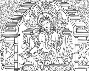 Buddha Coloring Book Etsy