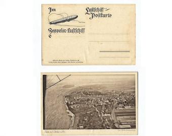 Zeppelin Vintage Postcard, German Airship Air View Dirigible Balloon, 1919, Unused Antique Postcard