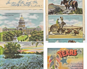Vintage Texas Souvenir Multi View Folder Beautiful Color Mailed with postage stamp from Mexico