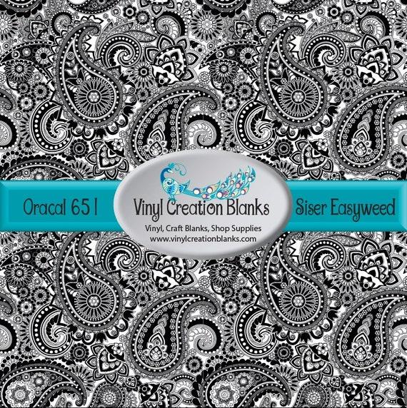 Paisley Vinyl Black And White Paisley Pattern Vinyl Printed Etsy