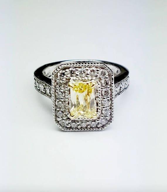 3a3ee2ac11cb8 2.06 CTW EMERALD Cut 100% Natural Fancy Yellow Diamond Ring - GIA Certified
