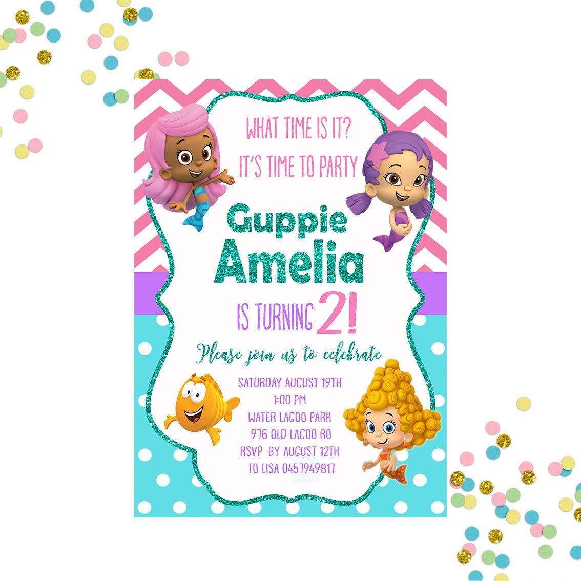 Bubble Guppies Invitation Bubble Guppies Birthday Invitation   Etsy