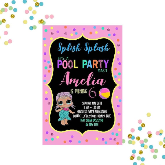 Lol Surprise Doll Pool Party Invitation Pool Party Invitation