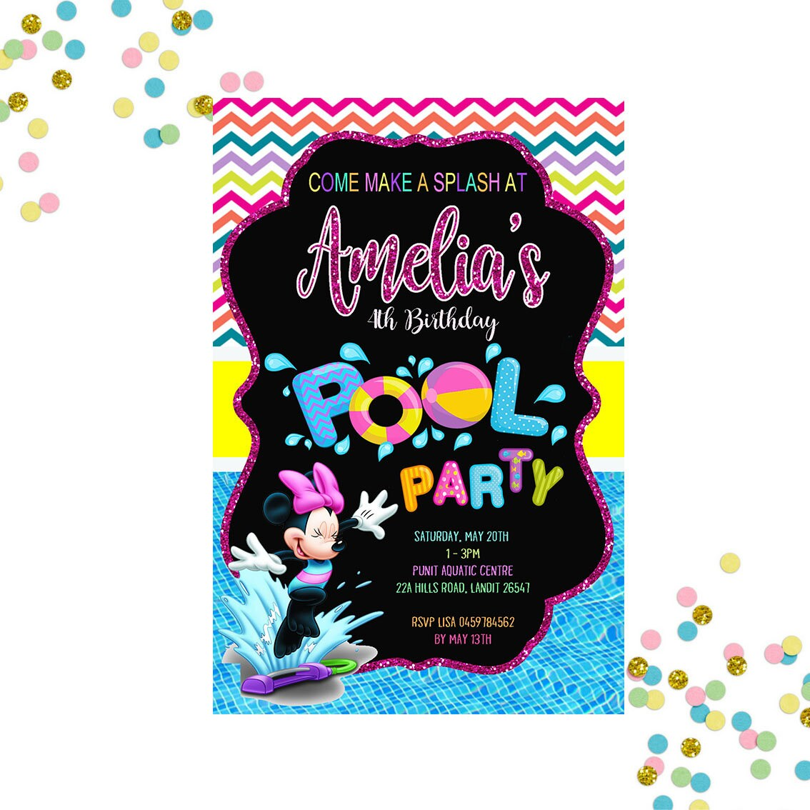Minnie Mouse Pool Party Invitation