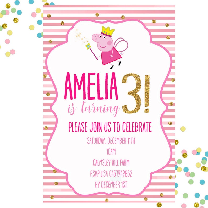 Peppa Pig Invitation Birthday Girls