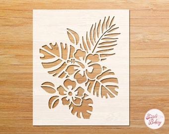 Hibiscus Stencil, Hibiscus Flower Stencil, Tropical Flower Stencil, Tropical Leaves Stencil, Reusable Stencil, Flower Stencil, DIY Stencil