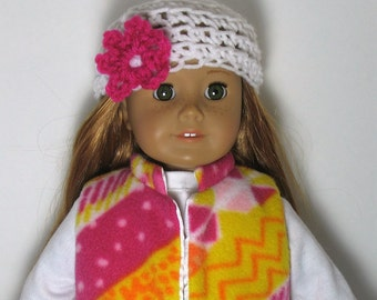 "18"" Doll Clothes fit American Girl Fleece Vest and Crocheted Hat Set PINK PIZZAZZ"