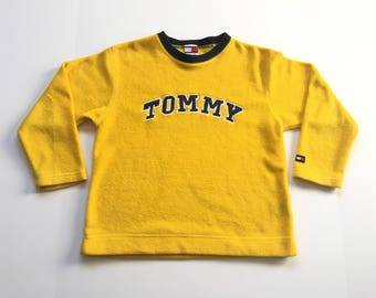 1990s TOMMY HILFIGER Tommy JEANS Fleece Vintage Crop Top Shirt    Size  Xsmall 977049339