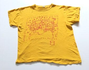 0002c626755 1987 PETER MAX La BAYADERE American Ballet Junior Council Distressed  Vintage T Shirt    Size Large