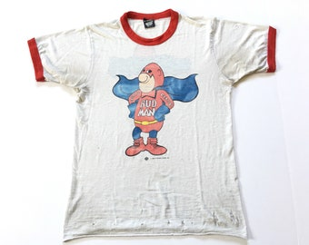 8c10ff19e6868 1970s BUDWEISER ALLOVER PRINT Distressed Vintage T Shirt | Etsy
