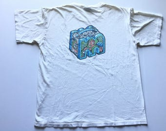3fdebfc8 1990s MOSSIMO FRESH OUT Of The Box Distressed Oversized Vintage T Shirt //  Size Xlarge