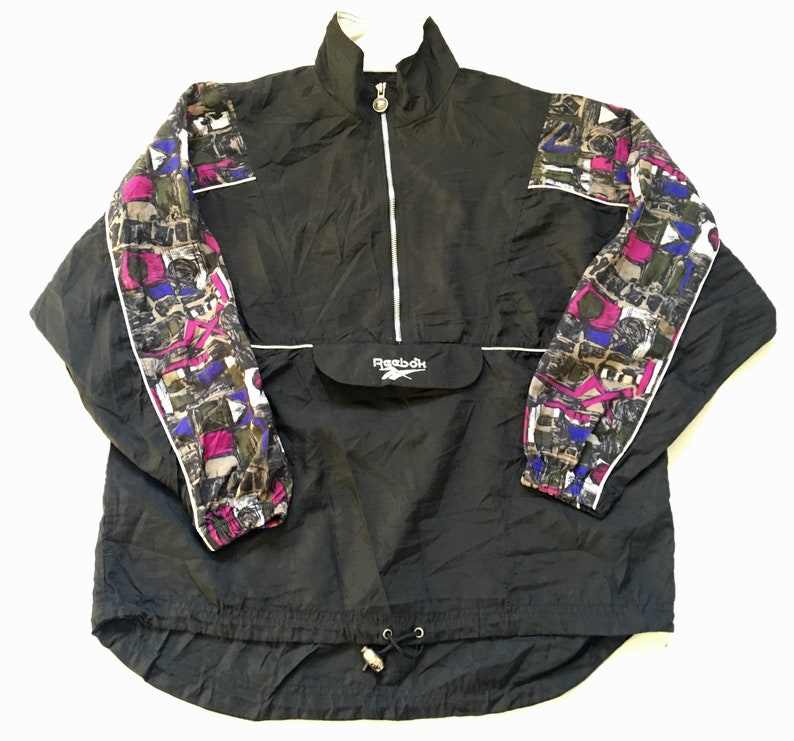 efc819d9175c5 1990s REEBOK Geometric Print Embroidered Vintage Nylon Pullover Zip Up  Jacket // Size Small