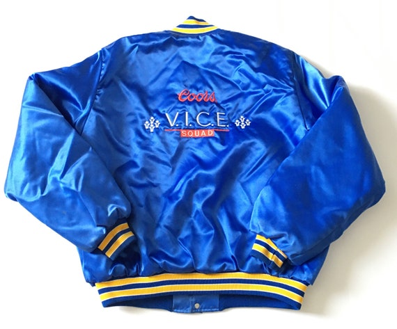 1980s COORS VICE SQUAD Birdie Satin Bomber Jacket